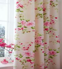 Canterbury Cream Pink Red Floral Rose Pencil Pleat Lined Curtains with Tiebacks