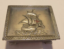 Lovely metal trinket box with ship design