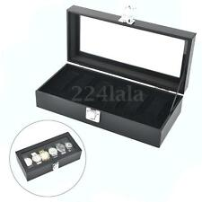 6 Grid Slots Watches Display Storage Collection Box Case Watch Organizer Jewelry