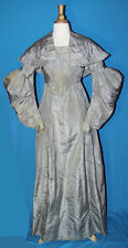 ANTIQUE DRESS 1835-45 LADY'S SILK GOWN ALL HAND STITCHED MUSEUM DE-ACCESSION