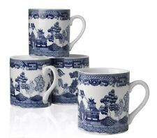 New Mug Coffee Tea 10 ounce Set of 4 Porcelain White Cup China Blue Willow