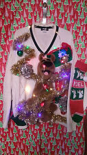 "SCOOBY DOO  "" UGLY "" Tacky Christmas sweater X-LARGE L@@K LIGHTS MENS"