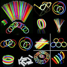50 Pcs Glow Sticks Bracelets Necklaces Fluorescent Neon Party Wedding Magic Hot