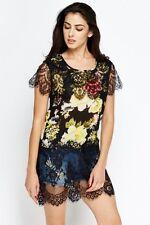 1 x Black & 1 x Peach Floral & Lace long top UK10-12 S/M BNWOT