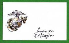 Romus Burgin WWII Pacific Peleliu K-3-5 1st Marine Div Signed 3x5 Card E14870