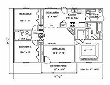House Plans for 1358 Sq. Ft. 3 Bedroom House