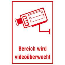 Schild Kamerüberwachung / Bereich wird videoüberwacht / Alarm Sicherheit Kamera
