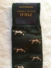 Polo Ralph Lauren Socks~Hunter Green with Hunting Dogs All Over~Cotton Blend~NWT