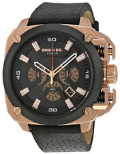 Diesel DZ7346 BAMF Black Dial Leather Strap Chronograph Men's Watch