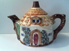 Vintage Ceramic Round Brick Cottage House Tea Pot W/ Lid Japan