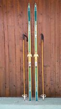 """VINTAGE HICKORY Wooden 79"""" Skis Has GREEN Finish SPLITKEIN + Bamboo Poles"""