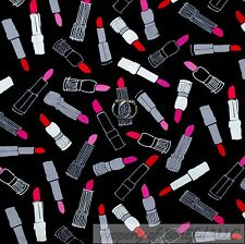 BonEful Fabric Cotton Quilt Black White B&W Pink Red Lipstick Make Up Girl SCRAP