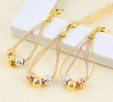Magic Ball Bead 18k Tri-color Gold GF Rainbow Statement Necklace Earrings SET