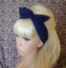 NAVY BLUE COTTON BENDY WIRE HAIR WRAP WIRED SCARF HEADBAND 50S RETRO STYLE NEW