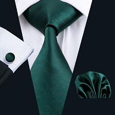NEW DESIGNER DARK GREEN SILK TIE-SET