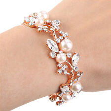 Rose Gold Tone Art Deco Pearl Bracelet Chain Clear Austrian Crystal Bridal Gift