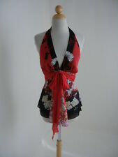 Roberto Cavalli (Ita.42) Red/Black Asian Floral Silk Sexy/Skimpy Hot Halter Top