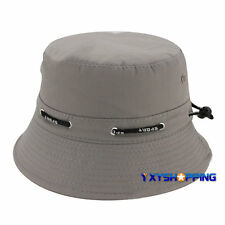 Mens Womens Bucket Hat Boonie Flat Hunting Fishing Outdoor Beach Cap Sunhat Grey