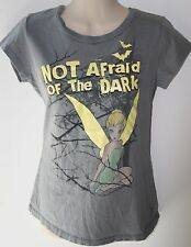 Disney Gray Tinkerbell Not Afraid of The Dark Shirt Size M Juniors Glow in Dark