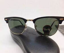 RAY-BAN RB 3016 CLUBMASTER W0365 Black Gold Green Unisex Sunglasses DX13/22