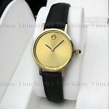 Women's Movado MUSEUM CLASSIC Gold Dial Black Thin Hands Leather Swiss Watch
