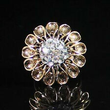 SUNFLOWER COCKTAIL RING -SIZE7- AUSTRIAN RHINESTONE CRYSTAL SILVER PLATED R1214G