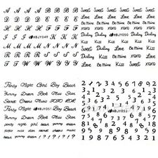 12Sheets/set 3D Nail Art Transfer Stickers Black Cake Love English Letter Decals
