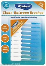 Wisdom BLUE Fine Clean Between SMALL Rubber 20 Interdental Floss Plaque Brushes