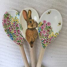 Rabbit Hare Bee Floral Wooden Spoon Set Shabby Chic Easter Mothers Day Gift