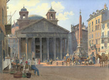 Large 12x16.4 Pantheon Piazza Rotonda Rome Painting Real Canvas Giclee Art Print