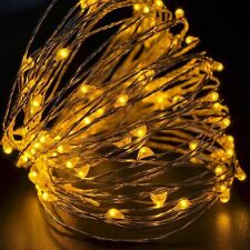 2M 20LED Battery Powered Silver Copper Wire Mini Fairy String Lights Yellow