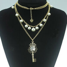 Hot Multi Layer Pearl Beads Chain Rhinestone Crystal Crown Key Necklace Pendant