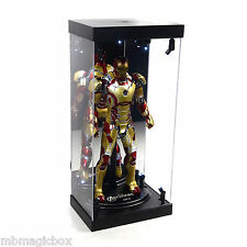 "Acrylic Display Case LED Light Box for 12"" 1/6th Scale Hot Toys IRON MAN Figure"