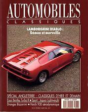 AUTOMOBILES CLASSIQUES n°36 02/1990 LAMBORGHINI DIABLO BENTLEY TURBO R BIZZARINI