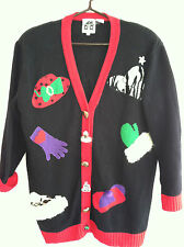 Red Hat Society Christmas Cardigan Sweater L Large Ugly