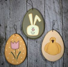 "3 Large 6"" Easter Egg Ornaments - flower, chick, rabbit"