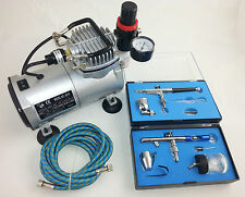 AIRBRUSH KIT - MINI PISTON COMPRESSOR & DUAL ACTION TWO AIRBRUSHES - UK SUPPLIER