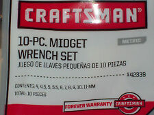 Craftsman 10pc Metric mm MIDGET MINI IGNITION WRENCH Set 42339 WRENCHES LOT