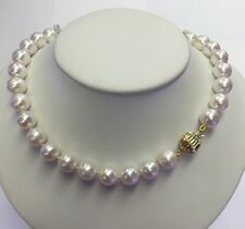 9.5x10.5mm  Freshwater Pearl Necklace , Silver Clasp 17""
