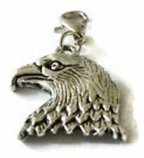 BEAUTIFUL SILVER EAGLE'S HEAD & PLUMAGE CLIP-ON CHARM FOR BRACELETS -SILVER TONE
