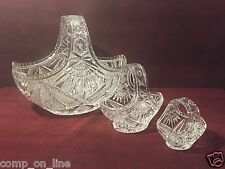 "SET OF THREE NESTING CZECH BOHEMIAN HAND CUT CRYSTAL GLASS BASKETS 10"" 6"" AND 4"""