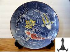 "1 PC.Japanese Plate 12.5""D KONOHA KOI 3 Carps Lucky Fish w/ Stand /Make in Japan"
