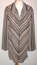 DESIGNER LANE BRYANT  BROWN STRIPED LOOSE FITTING PULLOVER TUNIC -X LARGE