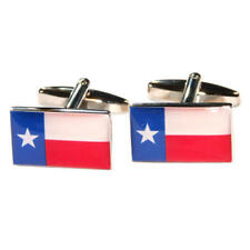 Blue, White & Red Texas American State Flag Cufflinks With Gift Pouch Flags