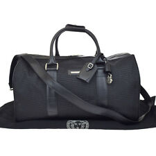 Authentic GIANNI VERSACE Travel Boston Hand Bag Leather Nylon Black Italy 05U499