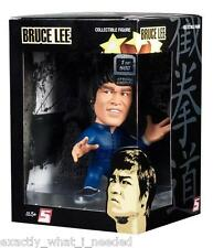 Bruce lee round 5 bleu jump suit display figurine de collection jouet 1 de 500