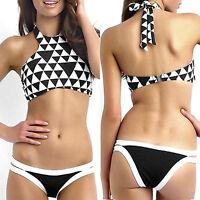 Sexy Womens High Neck Bikini Top Bottom Halter Bandage Push up Swimsuit Swimwear