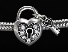 Silver Lock and Key Heart Charm Spacer Bead w/ Rhinestones Fit European Bracelet