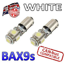 2 x BAX9s White Canbus LED Number Plate Interior Side Light 5 SMD Bulbs 434 H6W