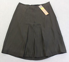 TORY BURCH GEORGINA Womens BLACK PLEATED DETAIL 100% SILK SKIRT NWT Sz 10  $395